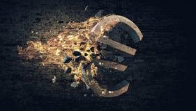 Euro symbole en feu Images stock