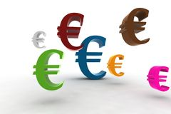 Euro symbols. Euro symbol in the air - 3d illustration isolated on white background Stock Images