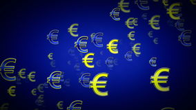 Euro Symbols Blue Dolly stock video footage