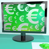 Euro Symbols On Computer Screen Royalty Free Stock Photo