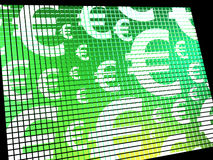 Euro Symbols On Computer Screen Showing Money And Investment Royalty Free Stock Photography