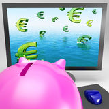 Euro Symbols Drowning On Monitor Shows European Depression Stock Photos