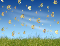 Euro symbols falling from sky Stock Photo