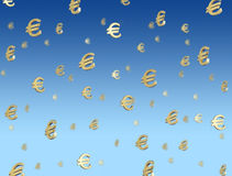 Euro symbols falling from sky. Success concept Royalty Free Stock Photography