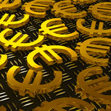 Euro Symbols On Floor Shows European Prosperity. And Fortune Royalty Free Stock Image