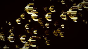 Euro Symbols Gold And Black Rising stock footage