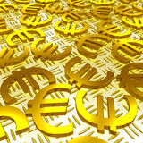 Euro Symbols Over The Floor Shows European Finances Stock Photos