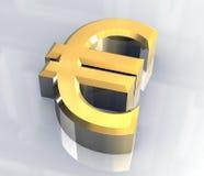 Euro symbool in (3D) goud Stock Afbeeldingen