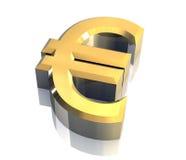 Euro symbool in (3D) goud Royalty-vrije Stock Afbeelding