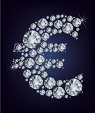 Euro symbool in diamanten. Stock Afbeelding