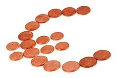 Euro symbool met muntstukken stock afbeelding