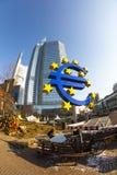 Euro symbool vooraan Stock Afbeelding
