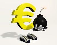 Euro symboolkarakter met een bom in zijn handen Stock Afbeeldingen