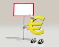 Euro symboolkarakter met in hand teken Royalty-vrije Stock Afbeeldingen