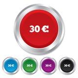 30 euro szyldowa ikona. EUR waluty symbol. Obrazy Stock
