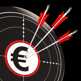 Euro Target Shows Security In Europe. Euro Target Shows Savings Investment And Security In Europe Royalty Free Stock Photos