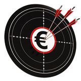 Euro Target Shows Wealth Currency And Prosperity. Euro Target Showing Wealth Currency And Prosperity In Europe Royalty Free Stock Photos
