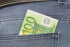 Euro in tasca dei jeans Fotografie Stock Libere da Diritti