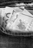 Euro in tasca dei jeans nel colore monocromatico Fotografie Stock Libere da Diritti