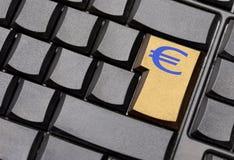 Euro tasto del segno Fotografie Stock Libere da Diritti