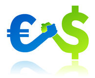 Euro tegenover de waarde van de dollarmunt Stock Afbeeldingen