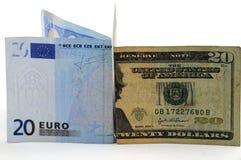 Euro tegenover dollar Stock Afbeeldingen
