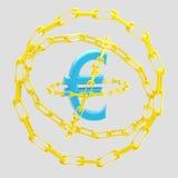 Euro teken dat met gouden kettingen wordt omringd  Royalty-vrije Stock Foto's