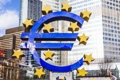 Euro Teken in Frankfurt Royalty-vrije Stock Afbeelding
