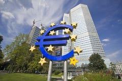 Euro Teken in Frankfurt, Duitsland Royalty-vrije Stock Foto