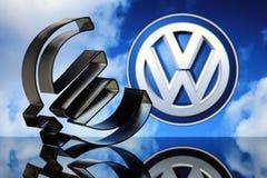 Euro teken met VW-embleem Stock Afbeeldingen
