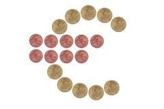 Euro teken van muntstukken Stock Fotografie