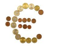 Euro teken van muntstukken Royalty-vrije Stock Afbeelding