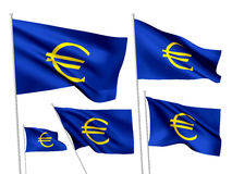 Euro teken - vectorvlaggen Stock Foto's