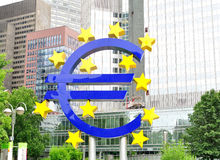 Euro teken voor ECB Royalty-vrije Stock Afbeeldingen