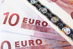 10 euro. Ten euro banknote as a background Royalty Free Stock Images