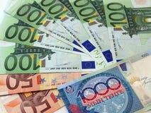 Euro- tenge das notas de banco e do Kazakh, fundo Fotografia de Stock Royalty Free