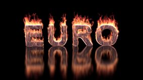 Euro text burning in flames on the glossy surface. Financial illustration background Royalty Free Stock Images