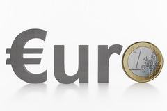 Euro text with coin Stock Photos