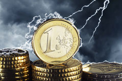 Euro in the thunderstorm royalty free stock photo