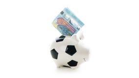 Euro tjugo i Piggybank isolerade på vit bakgrund besparingar Royaltyfri Fotografi