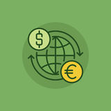 Euro to dollar convert green icon Royalty Free Stock Images