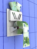 Euro in the toilet paper Royalty Free Stock Images