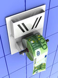 Euro in the toilet paper. 3d Very beautiful three-dimensional illustration Royalty Free Stock Photography