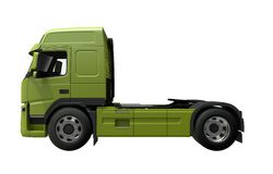 Euro Tractor Truck Side View. 3D Render Illustration. Green Truck Side View Royalty Free Stock Photography