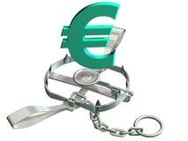 Euro trap. Vulnerable euro symbol precariously close to a bear trap Stock Photo