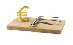 Euro trap. 3d illustration  of mouse trap with euro sign isolated on white background Royalty Free Stock Photo