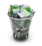 Euro in the trash bin. Isolated on white background Stock Image