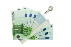 Euro and a travel cheque Royalty Free Stock Image