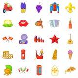 Euro travel icons set, cartoon style Royalty Free Stock Photography