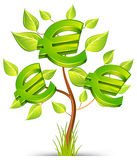 Euro tree. Green tree growing currency with euro sign on white background, illustration royalty free illustration